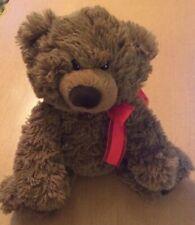 "Aurora Sitting Brown Teddy Bear Plush with Red Bow 9"""