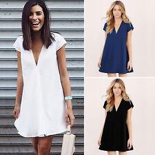 Plus Size Womens V Neck Chiffon Tunic Dress Plunge Loose Tops Blouse Sundress