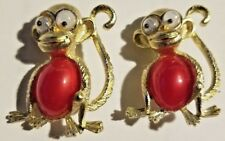 2 Monkey Vintage Costume Jewelry Pins Broach Gold Tone W/Red Belly, Googly Eyes