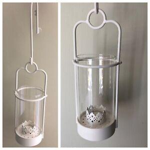 IKEA Damast Ivory Metal Tealight Hanging Lantern for indoor/Outdoor Use NEW