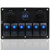 6 Gang Blau LED Schaltpanel Schalter Schalttafel Voltmeter 2 USB 12/24V Boot RV