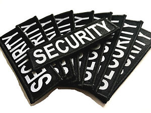 10 pack EMBROIDERED SECURITY PATCHES sew on cloth badges large black work jacket