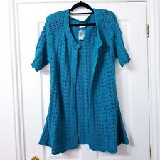 Longline Edge to Edge Short Sleeve Knit Cardigan L Green Women Roman Originals