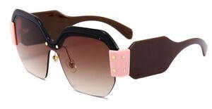 Sonnenbrille Fashion Schwarz NEU Randlos breiter Bügel Mega Gross Rosa Blogger