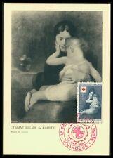 France Mk 1954 cruz roja Red Cross tipo Louvre Carte maximum card mc cm ax63