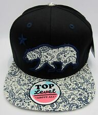 CALIFORNIA REPUBLIC Snapback Cap Hat CA CALI Black Multi Color Paisley Visor NWT