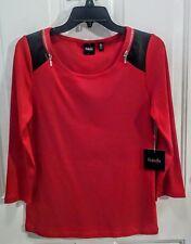 NWT Rafaella Red & Black L/S Top-Zipper & Blk Faux Leather Trim, Women's Size S