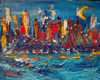 CITYSCAPE   Modern  Original Abstract Painting  SIGNED PALETTE KNIFE   RY45yu
