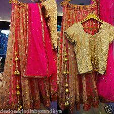 Latest designer bollywood indian wedding pink readymade lehenga choli set lengha