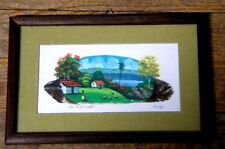 Handmade in EL Salvador   Framed Landscape Painting on Feather
