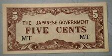 1942  Malaya Japanese Occupation 5 cents, JIM Banknote