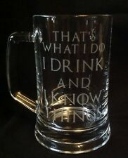 GAME THRONES TYRION GLASS TANKARD G O T BIRTHDAY GIFT DAD FATHERS DAY PRESENT