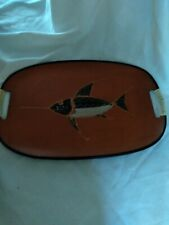 vintage oblonge, serving tray with black and gold fish