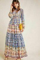 Anthropologie Anastasia New Maxi Dress By Bhanuni Jyoti Tiered Sz 6 NWT