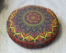 "35''x6"" Round Floor Pillow Cover Ottoman Meditation Pouf Cover Cotton Cushion"
