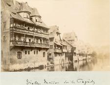 Nuremberg - Maisons à colombage sur le Pegnitz Vintage albumen print  Tirage a