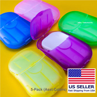 100 Super Paper Soap Sheets Portable 5-Pack Pink Blue Green Yellow Purple