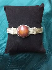 With Brown Stone Silver Bangle Bracelet