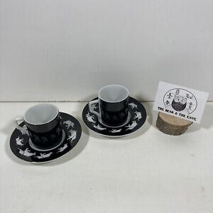 Andrew Martin Designer Black Elephant Espresso Coffee Cups & Saucers Set Of 2