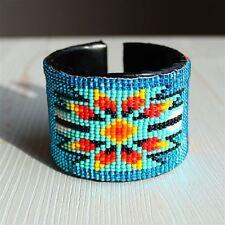 BR508 3 Mix Lot Star Cuff Glass Crystal Bead Bracelet Hand Made Native Design