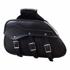 Black Motorbike Pannier Rider PU Leather Motorcycle universal Cruiser Saddle Bag