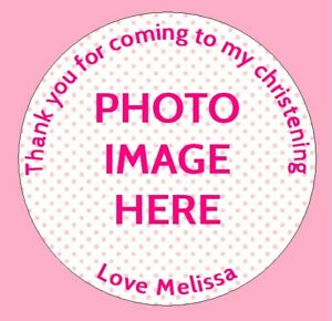 24 Personalised Christening Birthday Party Bag Picture Photo Stickers Labels x
