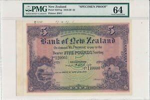 Bank of New Zealand New Zealand  5 Pounds 1917 Specimen Proof PMG  64