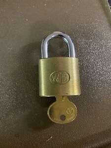 Vintage, WB Brass Padlock with Keys (Wilson Bohannan Co.,Marion, Ohio) 2-1/2 In.