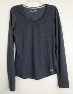 Under Armour Headgear Fitted Women's Size M Gray Long Sleeve Thumb Holes Top