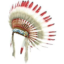 Indian Headdress Chief Feathers Bonnet Native American Gringo RED BLACK SPOTS