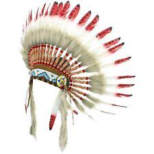 Coiffe d'INDIEN CHEF PLUMES Capot indien d'Amérique GRINGO rouge noir pointillée