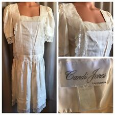 VTG Victorian Party Dress Romantic Ivory 70s Prairie Gown Boho Hippie Festival L
