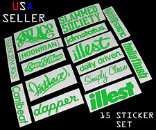 ILLEST FATLACE STANCEWORKS JDM SET 8 INCH 15 LIME GREEN STICKERS DECAL CANIBEAT