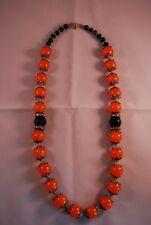 Vintage Teng Yue Orange & Black Glass With Crystal Circles Ladies Necklace