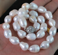 10-12MM Genuine Natural White Akoya Cultured Pearl Necklace Magnetic Clasp 18""