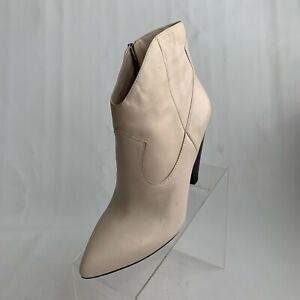 Vince Camuto Movinta Ankle Boots Cream Leather Pointed Toe Zip Heel Size 10M