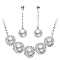 Silver Plated Pearls Jewellery Set Bridal Choker Necklace Drop Earrings S737