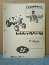 Simplicity Sovereign No. 494, 495, Owners, Assembly And Parts Manual. Original!