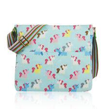 Cute Fun Turquoise Unicorn Canvas Cross Body School Messenger Bag Birthday Gift