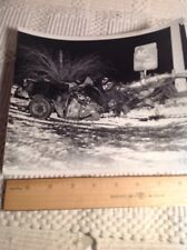 Vintage Antique Car Photo From Train Wreck Ac Fuel Pumps Sign Photo
