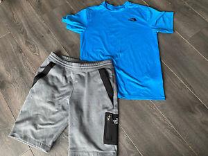 Boys The North Face Short Set Grey Shorts & Blue T-shirt Size Large Age 12/13