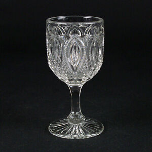 """US Glass New Jersey Wine Glass, Antique c.1901 EAPG 15070 Loop & Finecut 4 1/8"""""""