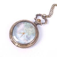 Watch Necklace Chain Steampunk Pocket Watch World Map Pattern Retro Quartz