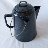 """Black Speckled Enamel Coffee Pot  With Lid Bail Handle Camping Picnics 9"""" Tall"""