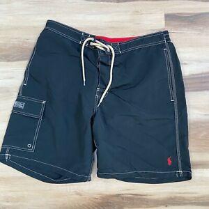 Polo Ralph Lauren Swim Trunks Black Lined Board Shorts Men's Large Red Pony