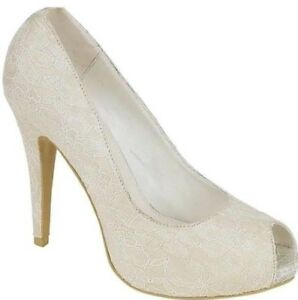 Ladies Bridal Wedding Ivory Satin Floral Lace Peep toe High Heel Shoes Size 3-8