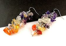 1 Natural Cluster Pair of Mixed Gemstones Dangle Fashion Earrings - # B314