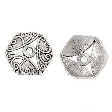 10x perlas tapas perlkappen remates filigrana flores para 18 mm perlas de plata