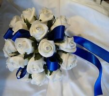 bridesmaids bouquet/posy royal blue and white or ivory, diamante,  wedding