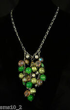Green Beaded Cluster Coloured Necklace CJN003